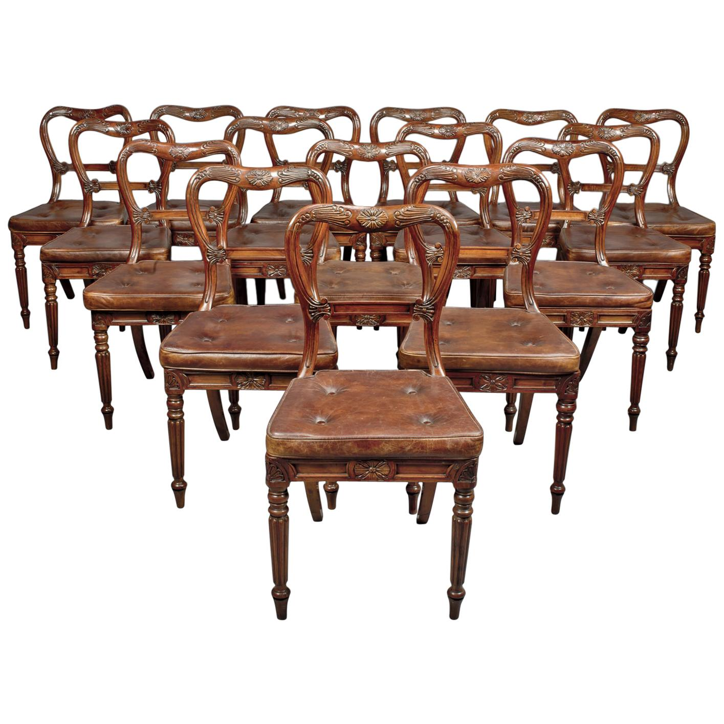 Set of Eighteen Red Walnut Dining Chairs Attributed to Gillows, circa 1830