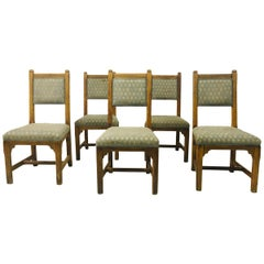 Set of Five Antique Oak Chairs by Howard and Sons