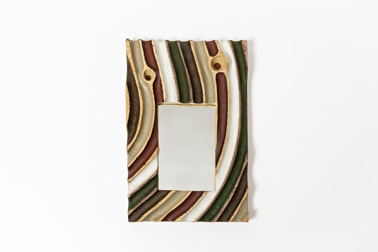 Set of Five Ceramic Mirrors by Hervé Taquet, 2019 For Sale 1