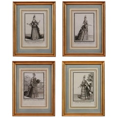 Set of Four 18th Century Prints of 'Femmes de Qualité' in Giltwood Frames