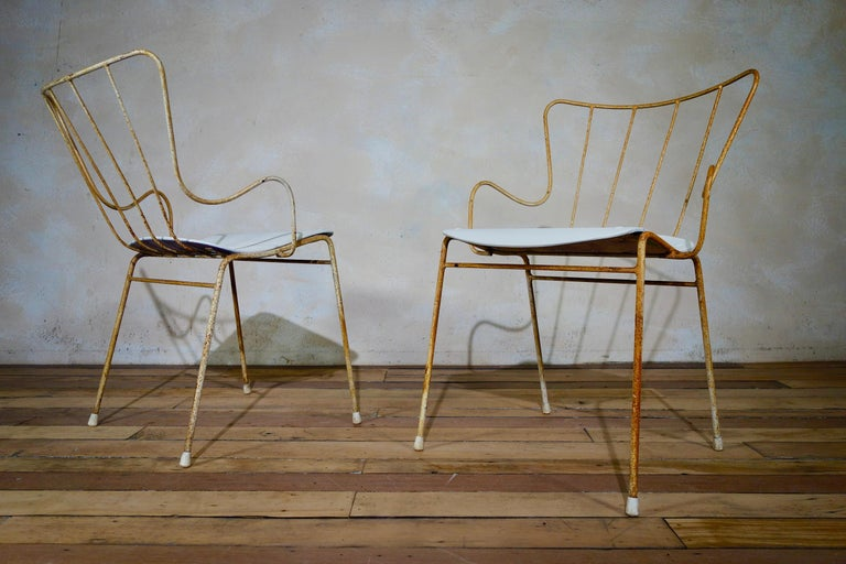 A Set of Four Vintage Ernest Race Antelope Chairs Painted Outdoor Dining Garden 4