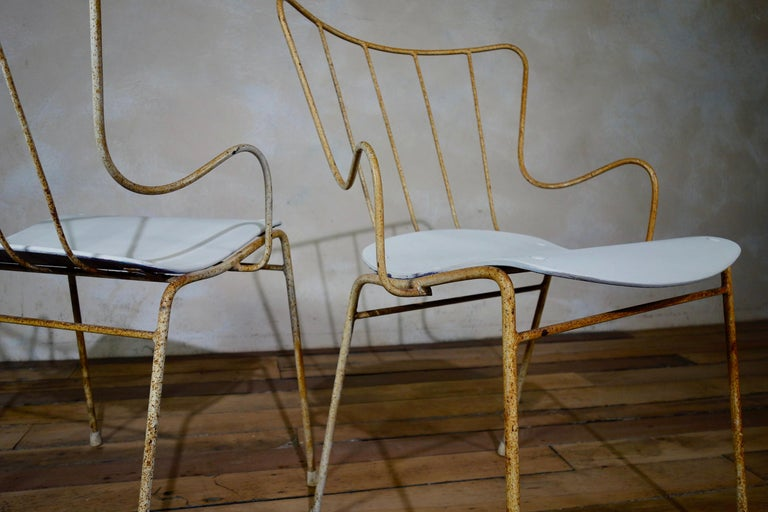 A Set of Four Vintage Ernest Race Antelope Chairs Painted Outdoor Dining Garden 7