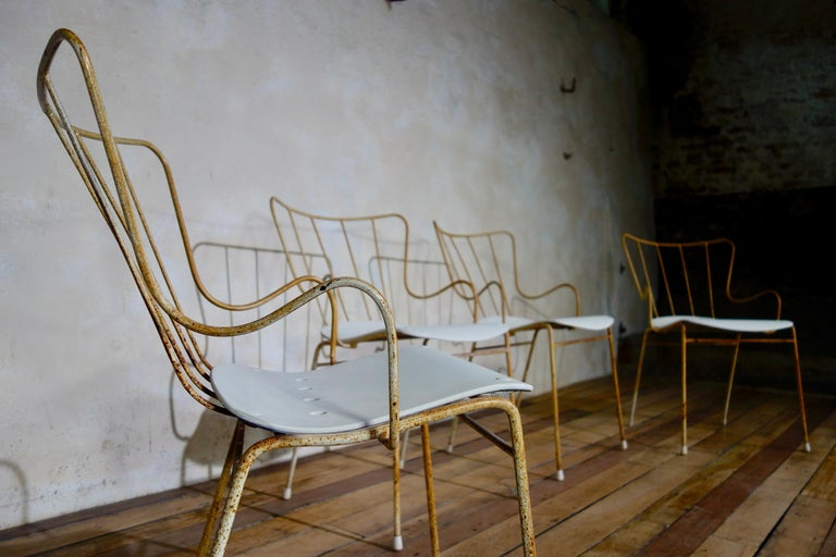 European A Set of Four Vintage Ernest Race Antelope Chairs Painted Outdoor Dining Garden