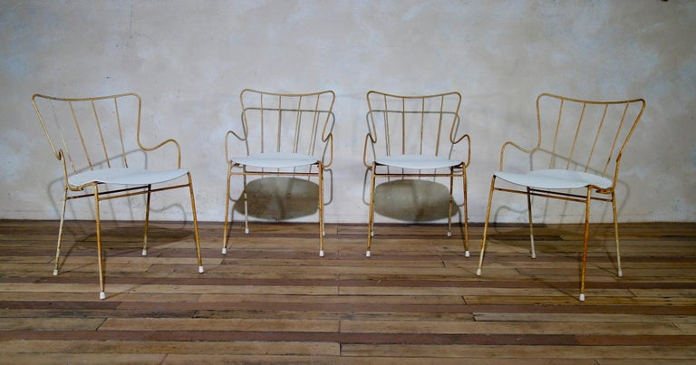 20th Century A Set of Four Vintage Ernest Race Antelope Chairs Painted Outdoor Dining Garden