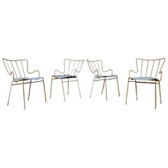 A Set of Four Vintage Ernest Race Antelope Chairs Painted Outdoor Dining Garden