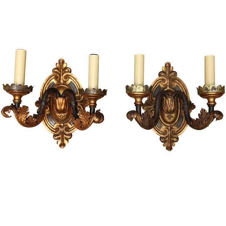 Set of Four Two-Light American Renaissance Style Sconces Attributed to Caldwell