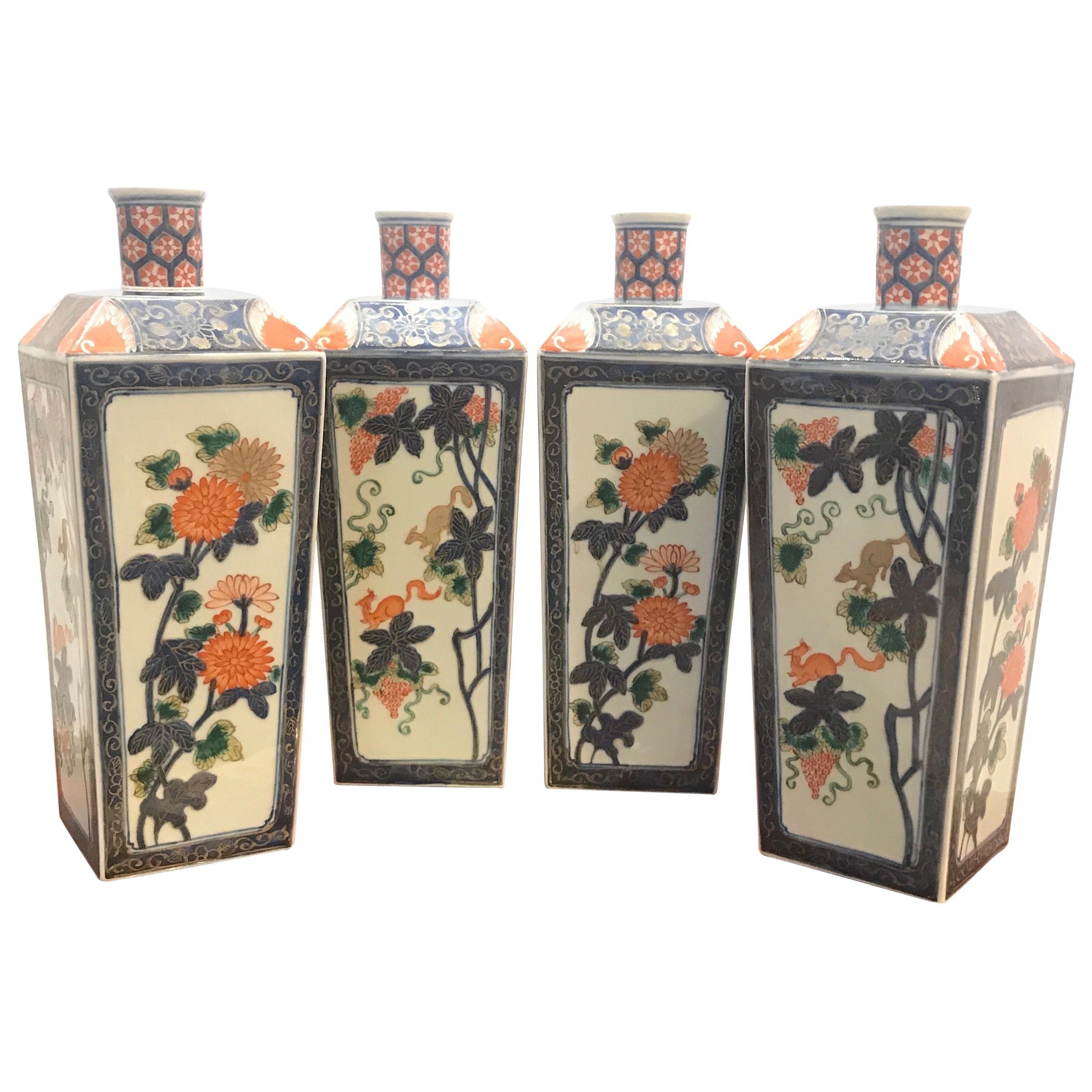 Set of Four Antique Imari Bottle Vases Meiji Period