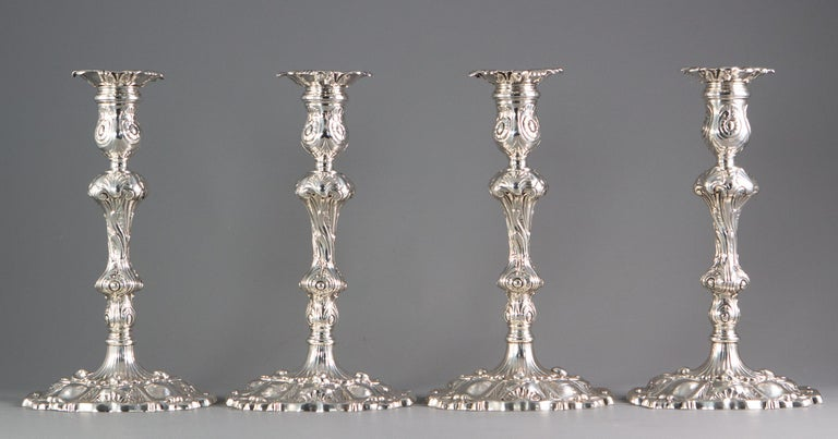 Set of Four Cast Silver Candlesticks London 1749 by William Gould 6