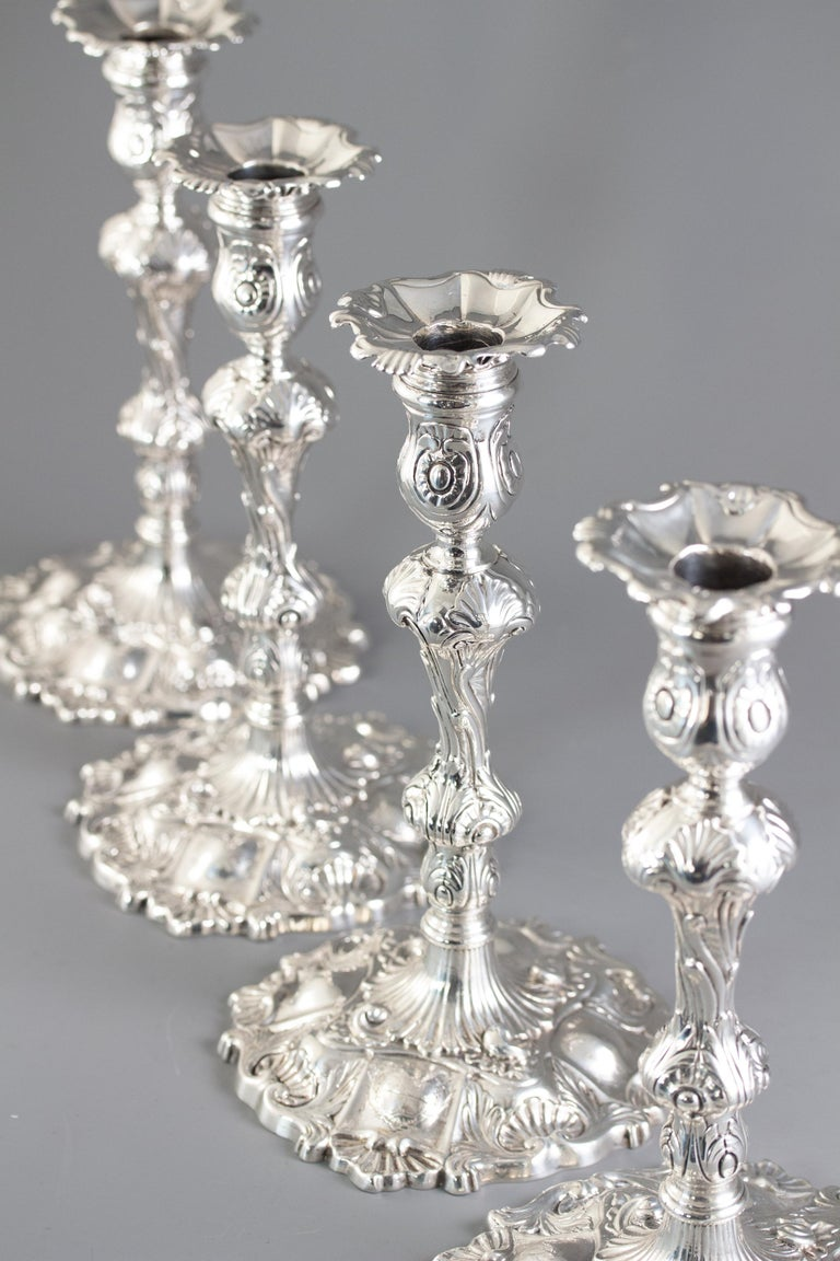Set of Four Cast Silver Candlesticks London 1749 by William Gould 10