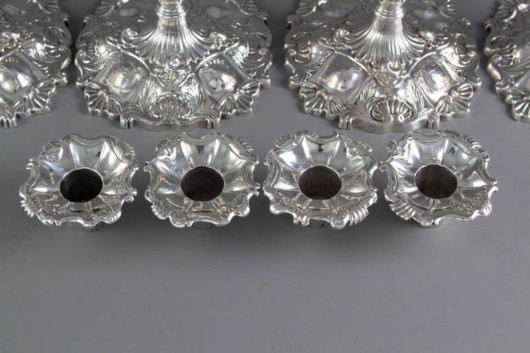 Set of Four Cast Silver Candlesticks London 1749 by William Gould 2