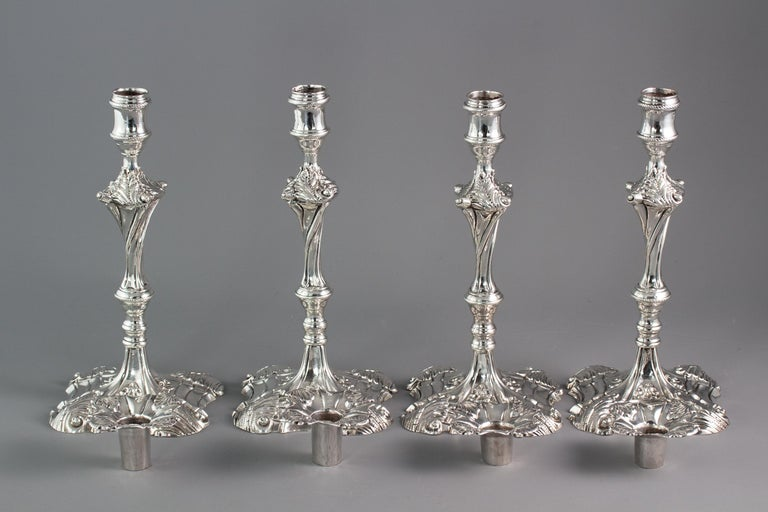 Set of Four Cast Silver Candlesticks, London, 1764-1765 For Sale 7
