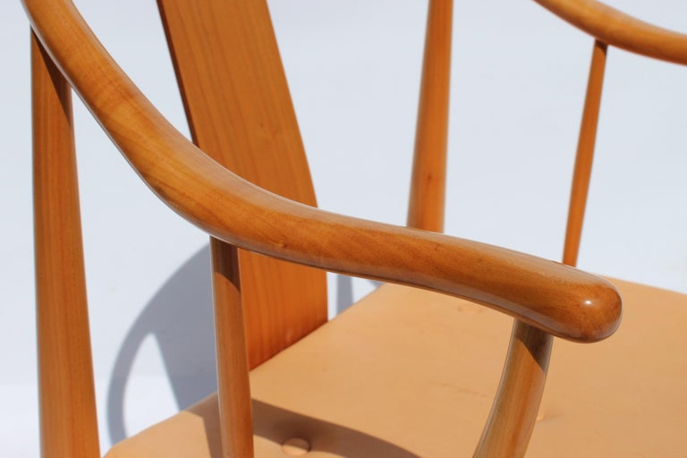 Leather Set of Four China Chairs, Model 4283, by Hans J. Wegner and Fritz Hansen For Sale