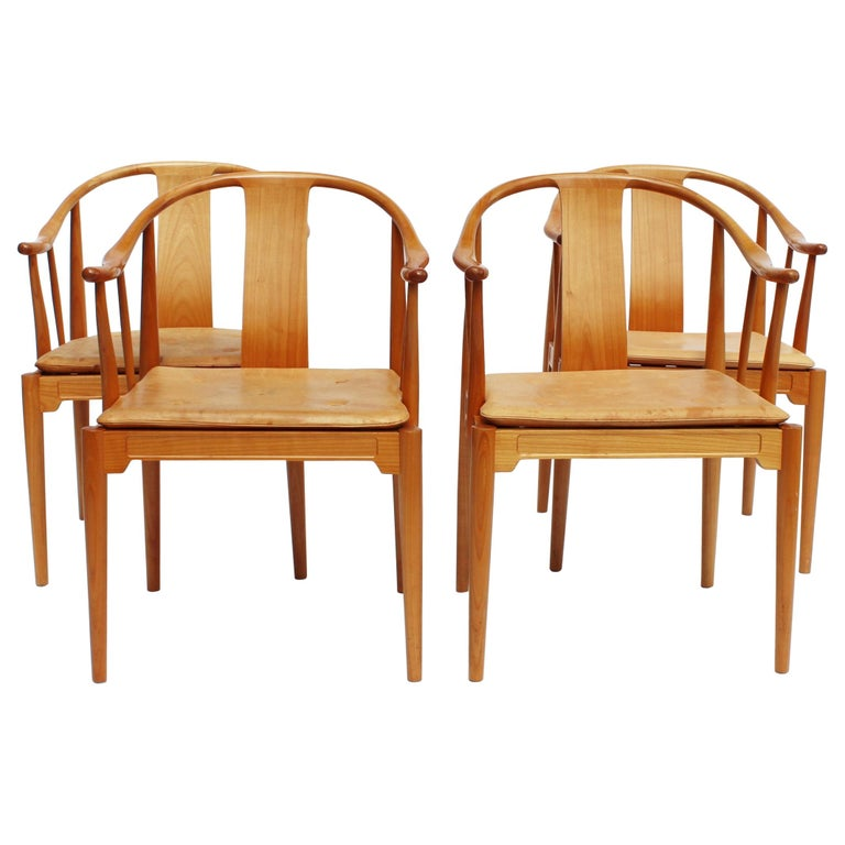 Set of Four China Chairs, Model 4283, by Hans J. Wegner and Fritz Hansen For Sale