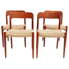 Set of Four Dining Chairs, Model 75, in Teak and Papercord by N.O. Møller
