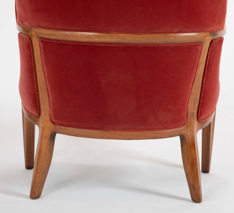 Set of Four Edward Wormley Walnut Armchairs for The Janus Collection of Dunbar For Sale 5