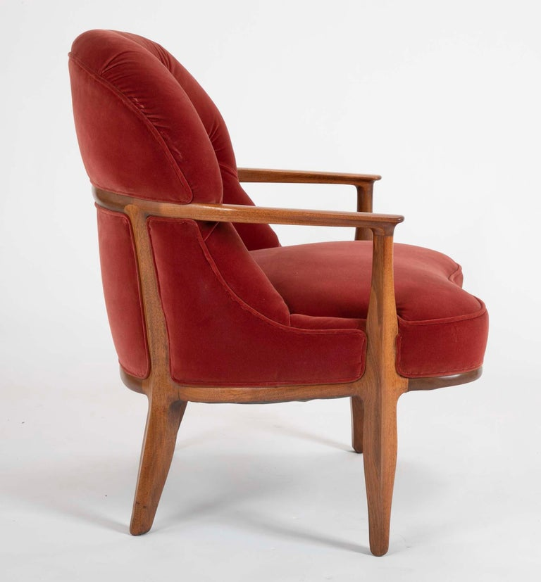 American Set of Four Edward Wormley Walnut Armchairs for The Janus Collection of Dunbar For Sale