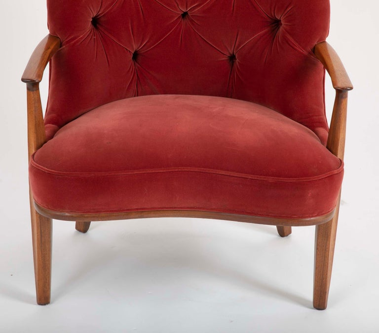 Mid-20th Century Set of Four Edward Wormley Walnut Armchairs for The Janus Collection of Dunbar For Sale