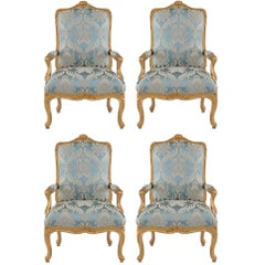 Set of Four French 19th Century  Louis XV St. Throne Giltwood Armchairs