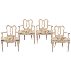 Set of Four French 20th Century Carved White Washed Louis XV Style Armchairs