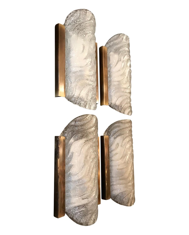 German Set of Four Glass and Gilt Metal Wall Sconces by Fischer Leuchten For Sale