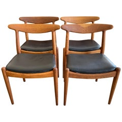 Set of Four Hans Wegner Dining  Chairs for Carl Madsen in Oak