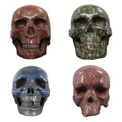 Set of Four Italian 19th Century Specimen Marble Skulls