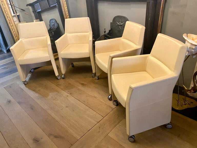 Late 20th Century Set of Four Italian White Leather Chairs by Enrico Pellizzoni For Sale