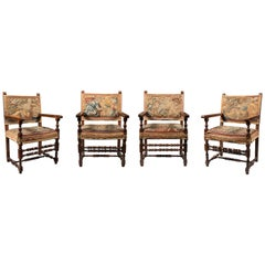 A Set of Four Late 18th Century Italian Tapestry Upholstered Armchairs