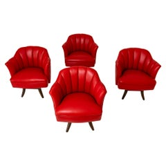 Set of Four Leather Upholstered Tub Chairs