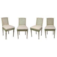 Set of Four Louis XVI White and Green Painted Side Chairs
