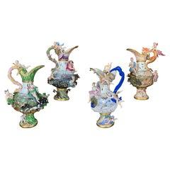 Four Meissen Porcelain Ewers Emblematic of the Elements