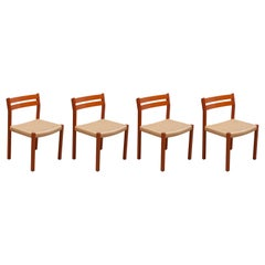 Set of Four Mid-Century Modern Paper Cord Dining Chairs by Jorgen Henrik Moller