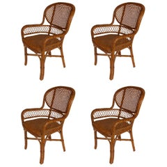 Set of Four Palacek Caned Indoor Chairs