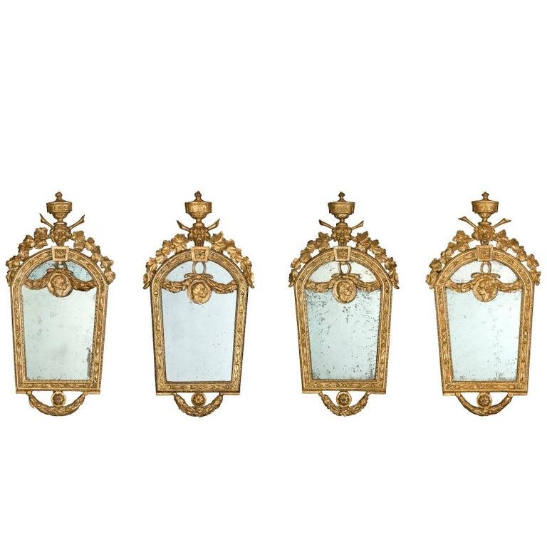 Four Petite Italian 18th Century Giltwood Mirrors