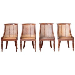 Set of Four Regency Mahogany Caned Dining Chairs