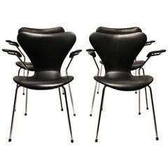 Set of Four Seven Chairs, Model 3207, by Arne Jacobsen and Fritz Hansen, 2006