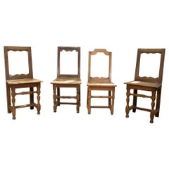 Set of Four Small French 18th Century Backstools, Lorraine Oak Side Chairs