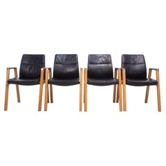 Set of Four Sven Christiansen for Sven Fulcrum Leather Office Armchairs