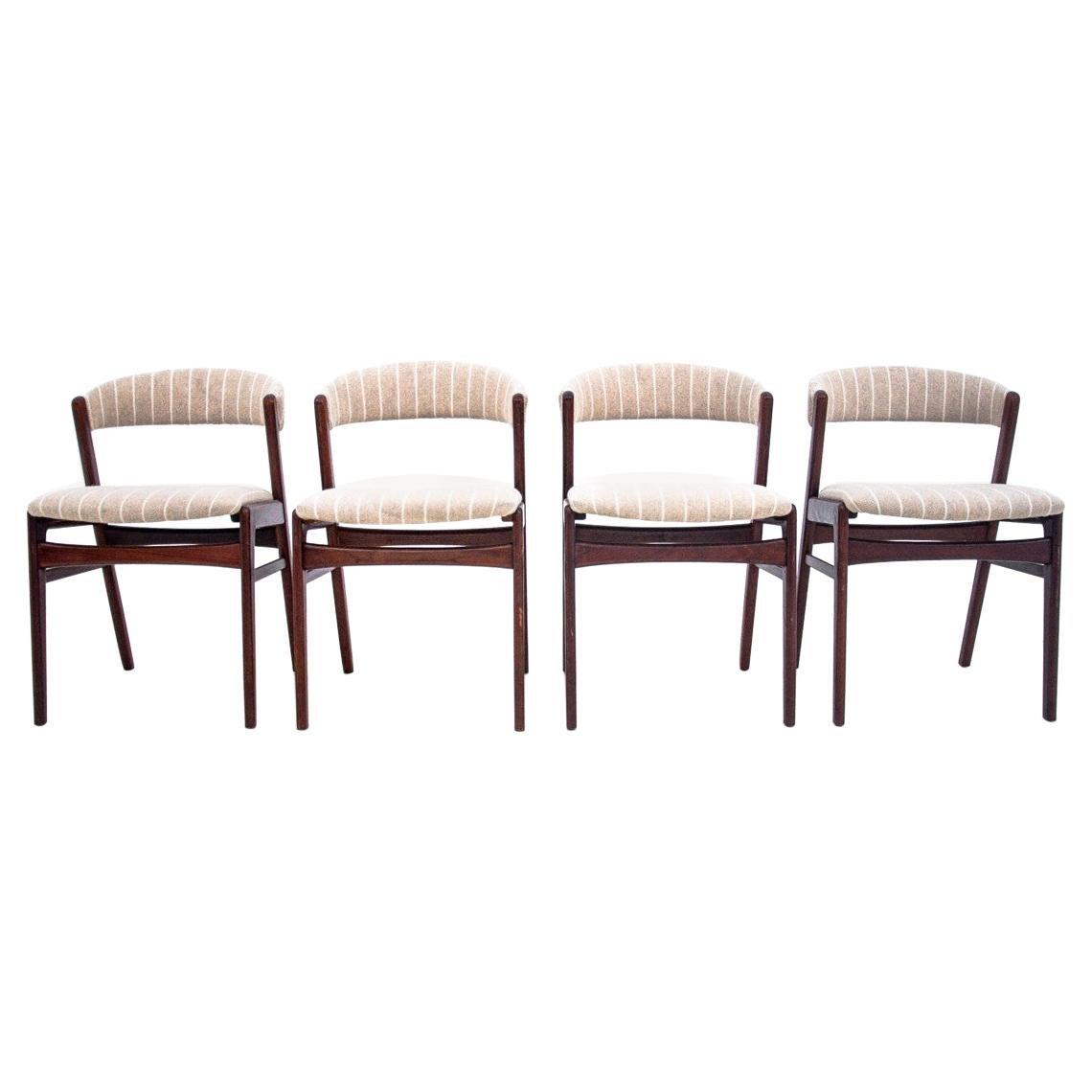 Set of Four Teak Danish Dining Chairs, 1960s