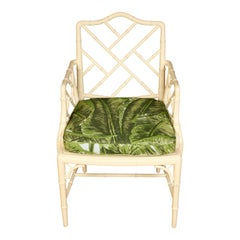 Set of Four White Vintage Bamboo Chairs with Meg Braff Fabric Cushion