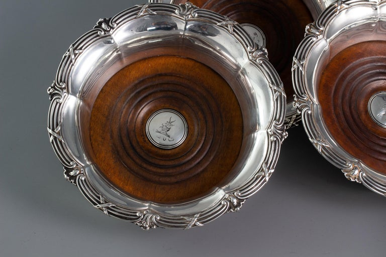 English Set of Four William IV Silver Wine Coasters Sheffield, 1830 For Sale