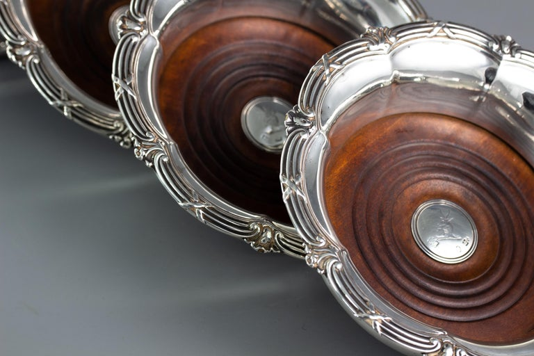 Set of Four William IV Silver Wine Coasters Sheffield, 1830 For Sale 1