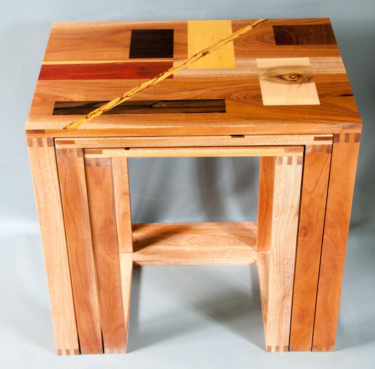 Wood Set of Rectangular Polychrome Inlaid Nested Tables in the Constructivism Style For Sale