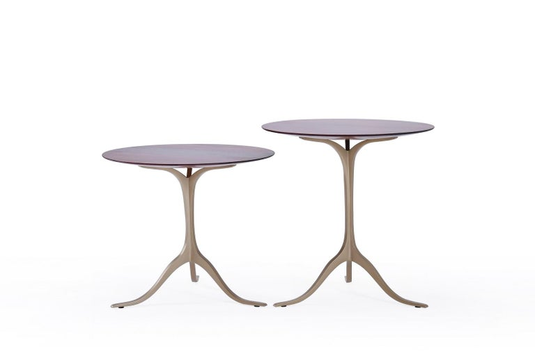 This latest round table comes in two sizes heights, with the wooden top of your choice.  We opted for a Ø 53 cm top, in rare reclaimed Ching Chan wood, Dalbergia Oliveri. This is one of the rarest hardwoods from the rosewood family we sourced from