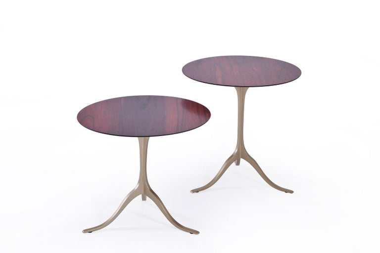 Mid-Century Modern Set of Round Occasional Table, Reclaimed Hardwood and Brass, by P. Tendercool For Sale