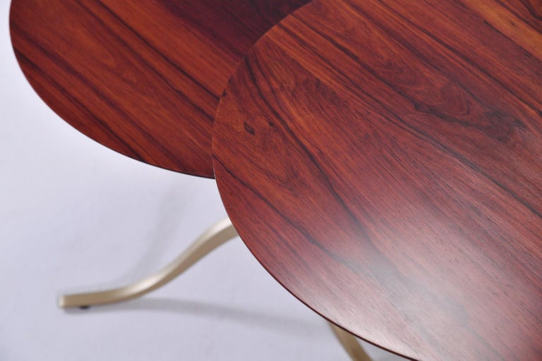 Asian Set of Round Occasional Table, Reclaimed Hardwood and Brass, by P. Tendercool For Sale