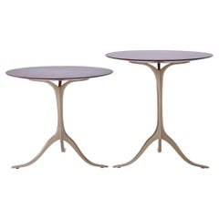 Set of Round Occasional Table, Reclaimed Hardwood and Brass, by P. Tendercool