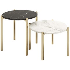 Set of Round Table, Design Style, Round Side Table with Coated Metal Legs