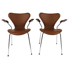 Set of Seven Chairs, Model 3207, with Armrests in Cognac Colored, 2019