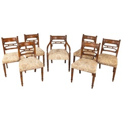 Set of Seven Regency Period Mahogany Framed Chairs